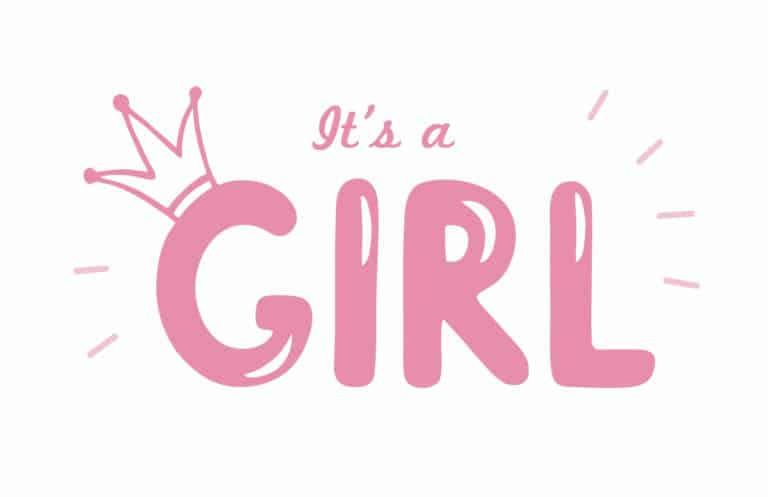 It's a girl in pink with a drawing of a crown on the capital letter G in girl.